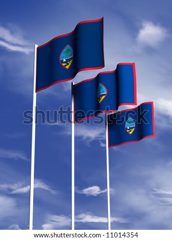 The flag of Guam flying in front of a blue sky - stock photo