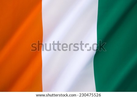 The flag of Ivory Coast - adopted in 1959, just prior to independence from France - stock photo