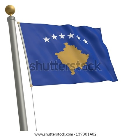 The flag of Kosovo fluttering on flagpole