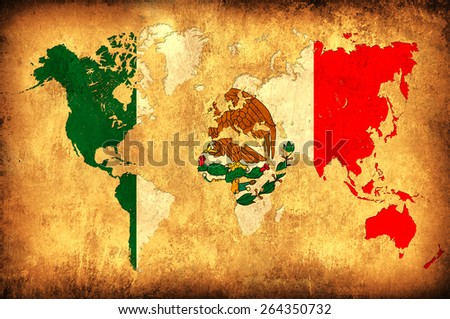 The flag of Mexico in the outline of the world map - stock photo