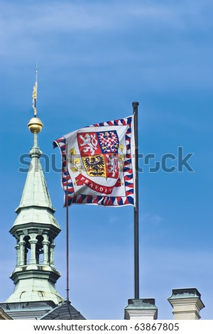 The flag of Prague, Czech Republic - stock photo