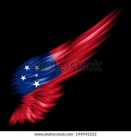 The Flag of Samoa on Abstract wing with black background - stock photo
