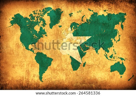 The flag of Somalia in the outline of the world map - stock photo