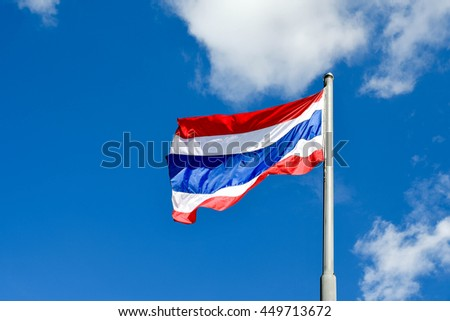"The flag of Thailand,Thong Trairong, meaning ""tricolour flag"""