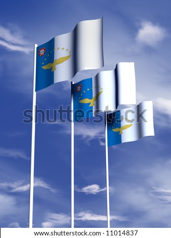The flag of the Azores flies in a soft breeze - stock photo