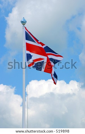 The flag of the British Isles, blowing in the breeze. - stock photo
