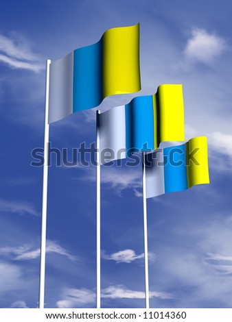 The flag of the Canary Islands flying in a soft breeze - stock photo