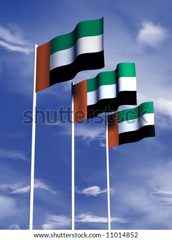 The flag of the United Arab Emirates flies in front of a blue sky