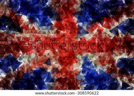 The flag of the United Kingdom of Great Britain and Northern Ireland, commonly known as the Union Jack or Union Flag, the national flag of the United Kingdom in triangular design - stock photo