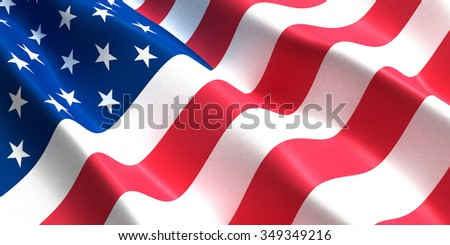 the flag of the United States of America developing in the wind - stock photo