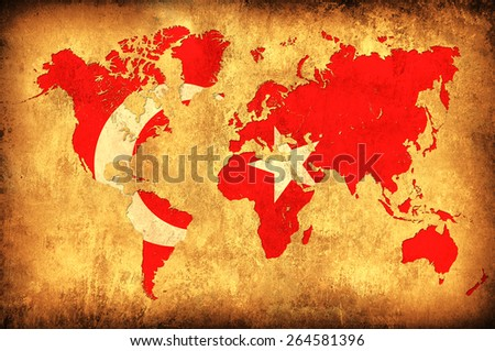 The flag of Turkey in the outline of the world map - stock photo