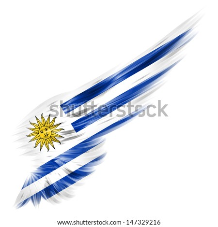 The Flag of Uruguay on Abstract wing with white background - stock photo
