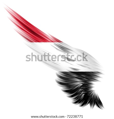 The flag of Yemen on Abstract wing and white background - stock photo