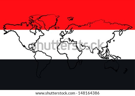 The flag of Yemen with the outline of the world - stock photo