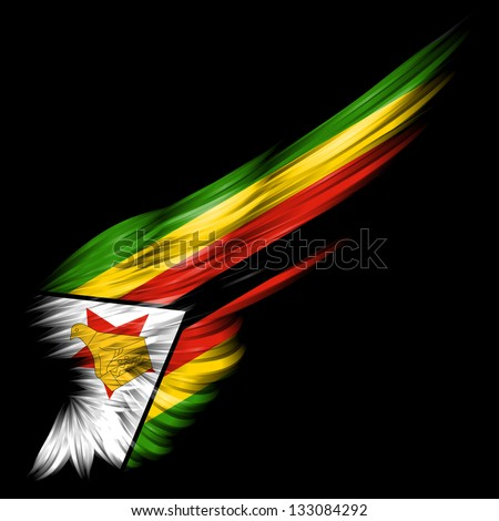 ... flag of Zimbabwe on Abstract wing with black background - stock photo