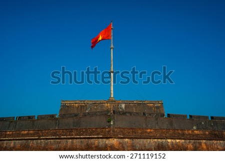 The Flag Tower (Cot Co) in the Citadel of Hue city, Vietnam Unesco World Heritage Site - stock photo