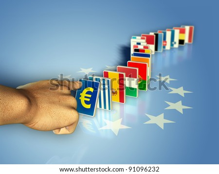 The flags of the european community countries became domino pieces, ready to fall together with their currency. Digital illustration. - stock photo