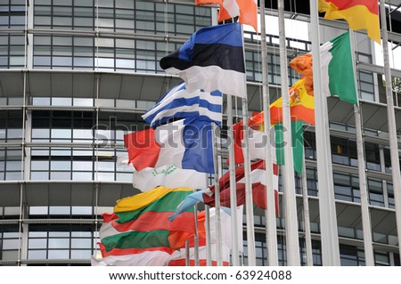 the flags of the European Parliament of Strasbourg - stock photo