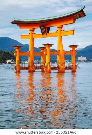 The floating Torii Gate, Miyajima island, Hiroshima, Japan - stock photo