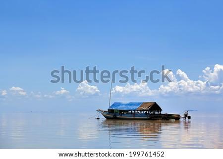 The floating village on Tonle Sap lake - stock photo