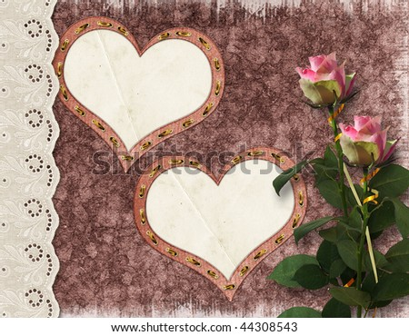The floral vintage background with hearts and flowers. - stock photo
