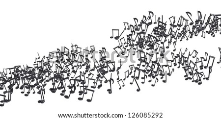 The flow of black musical notes. Isolated 3d rendering