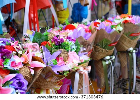 The flower bouquet stall  with selective focus on the front bouquet