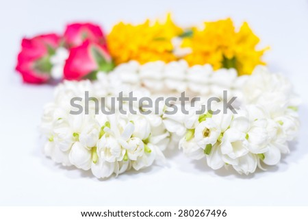 The flower in Thai traditional jasmine garland. - stock photo