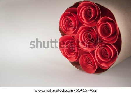 Flowers made red paper red rose stock photo royalty free royalty the flowers made of red paper a red rose and a bouquet of flowers on mightylinksfo
