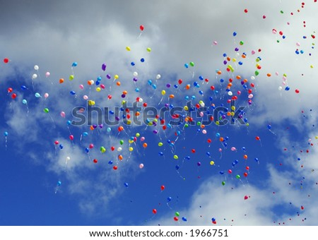 The flying balloons - stock photo