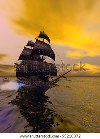 The Flying Dutchman - According to folklore, this is a ghost ship that can never go home, doomed to sail the oceans forever. - stock photo