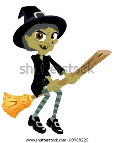 The Flying Witch And Her Broom - stock photo
