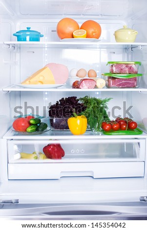 The food in the refrigerator. - stock photo