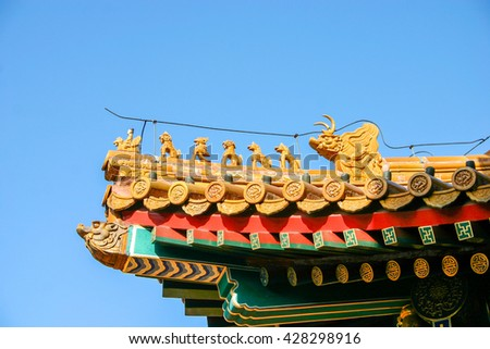 The forbidden city is the world historic heritage in Beijing China - stock photo