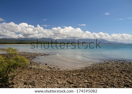 The foreshore with mangroves at low tide at Port Douglas, Queensland, Australia in the summer. - stock photo