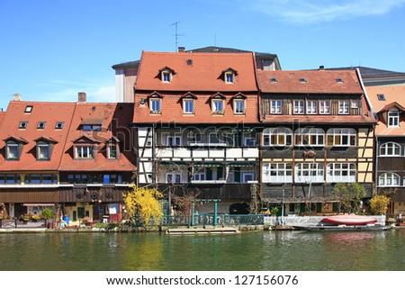 """The former fishermen settlement on the Regnitz, called """"Little Venice"""" in Bamberg, Bavaria, Germany - stock photo"""