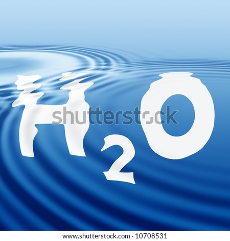 The formula of water on a wavy surface - stock photo