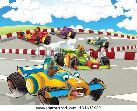 The formula race - super car - illustration for the children - stock photo