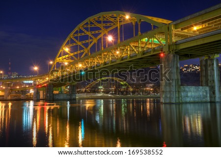 The Fort Duquesne Bridge with the Penn Lincoln Highway Bridge below in downtown Pittsburgh, Pennsylvania. - stock photo
