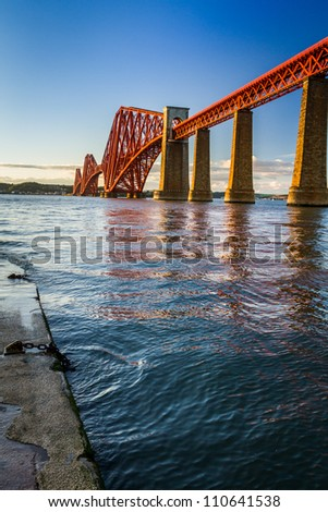 The Forth Road Bridge at sunset