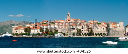 The fortified city of Korcula in Croatia - stock photo