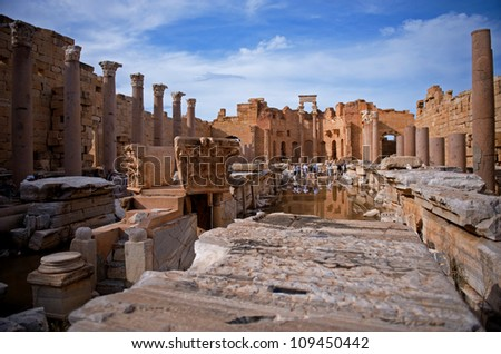 The Forum at the spectacular ruins of Leptis Magna near Al Khums, Libya - stock photo