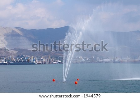 The fountain beating from water in the middle of a gulf - stock photo