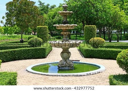 Garden Fountain Stock Images Royalty Free Images Vectors