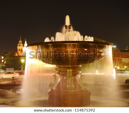 The fountain in Theatre Square (Fountain of the Bolshoi Theatre), Moscow, Russia