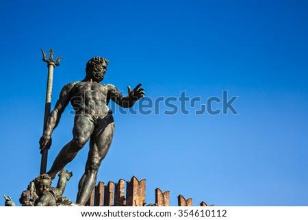 The Fountain of Neptune (Italian: Fontana di Nettuno) is a monumental civic fountain located in Piazza del Nettuno, next to Piazza Maggiore, in Bologna, Italy.  - stock photo