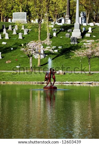 The Fountain-three Graces statue fountain.Mirror Lake-Buffalo,New York - stock photo