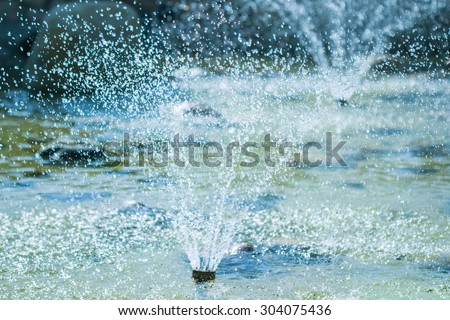 The fountains gushing sparkling water - stock photo