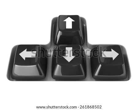 The four black keyboard arrows keys on a white background. Front view. 3D render illustration - stock photo