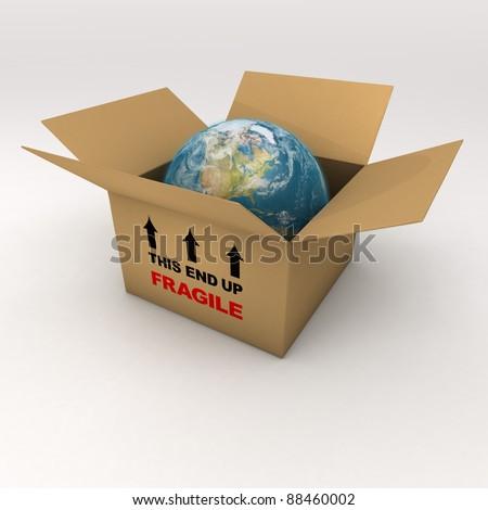 The Fragile World in a Cardboard Box - stock photo